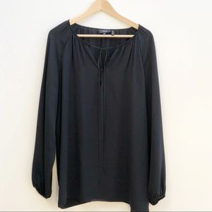Theory Black Silk Long Sleeve V-Neck Tie Front Top